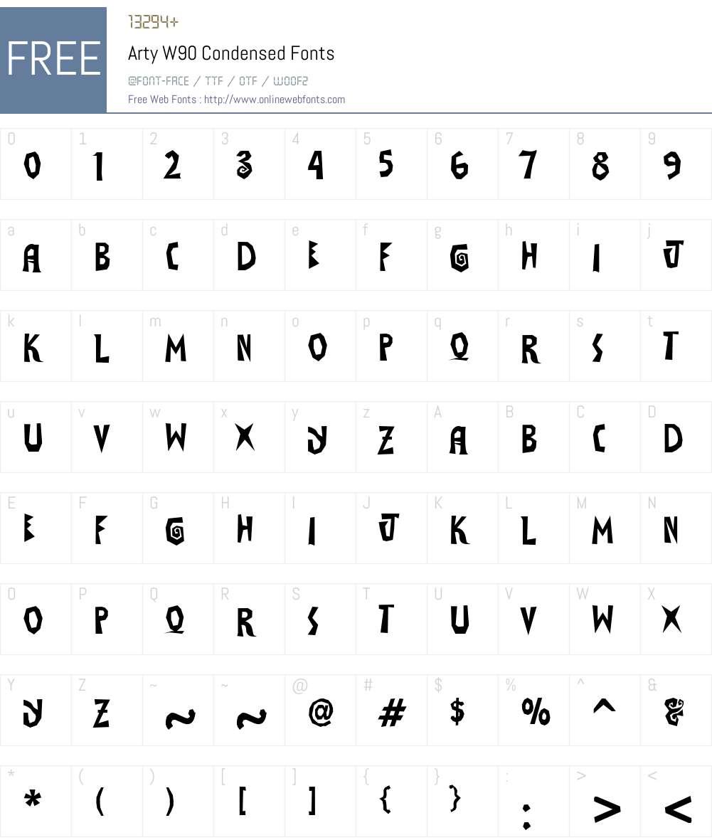 ArtyW90-Condensed Font Screenshots