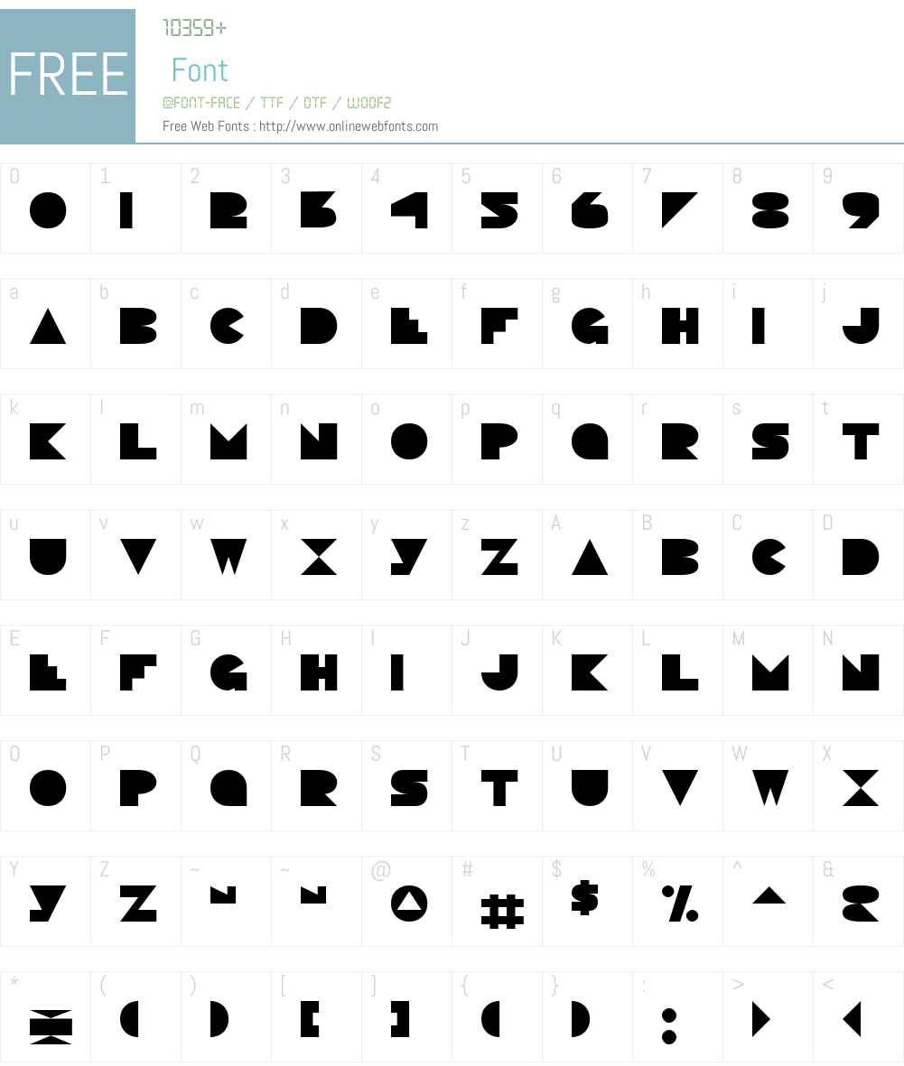 Pacmania Font Screenshots