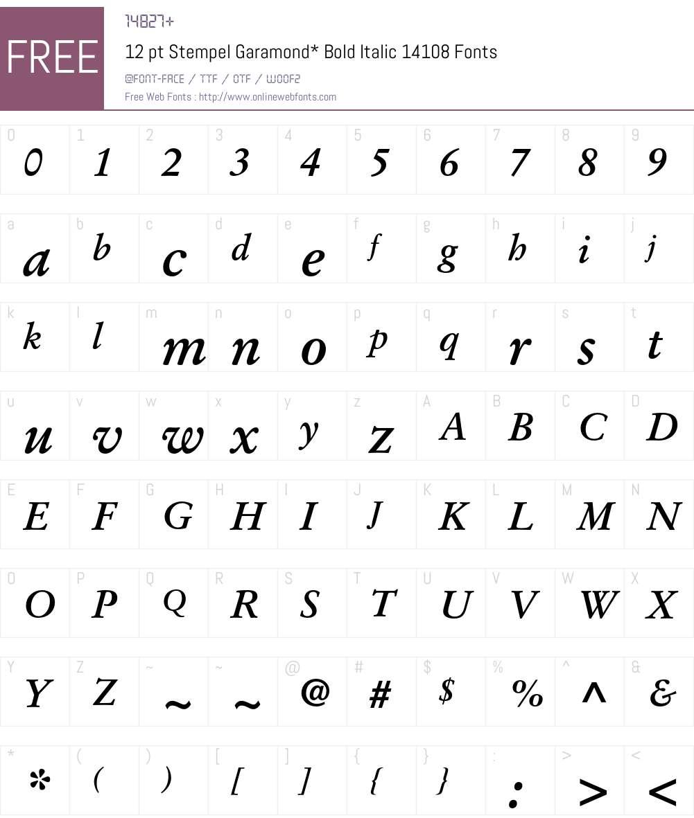 StempelGaramond Font Screenshots