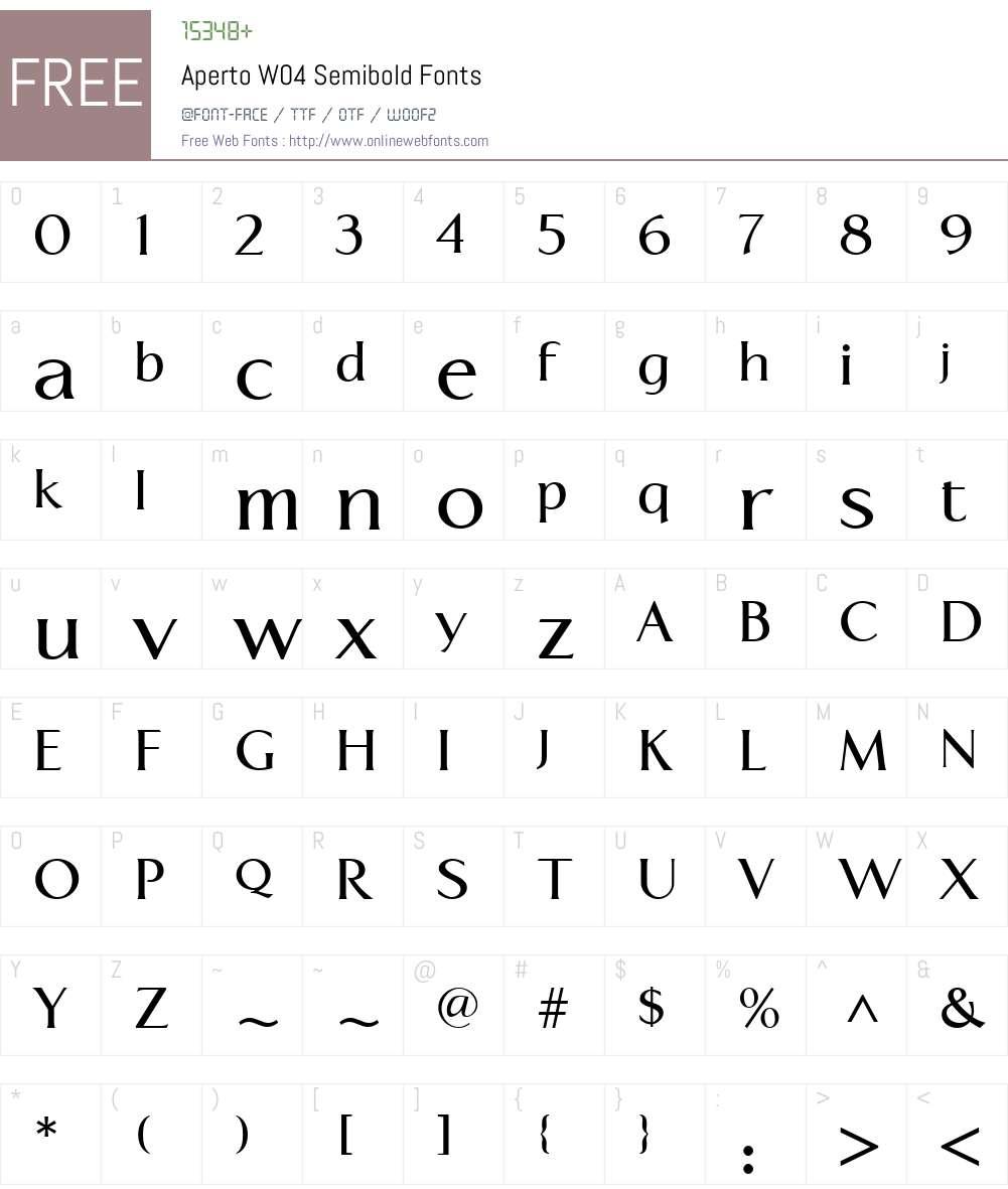 ApertoW04-Semibold Font Screenshots