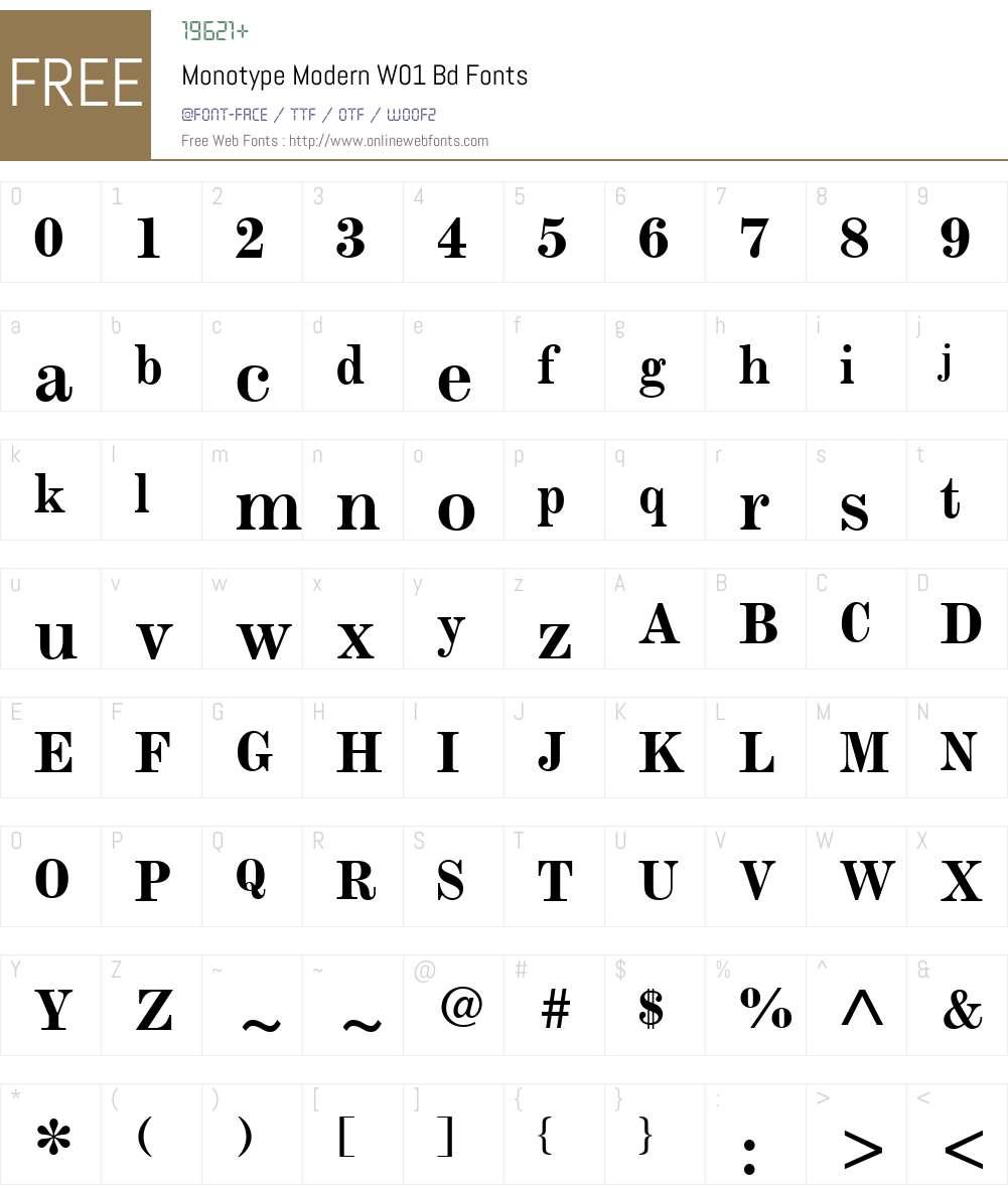 MonotypeModernW01-Bd Font Screenshots