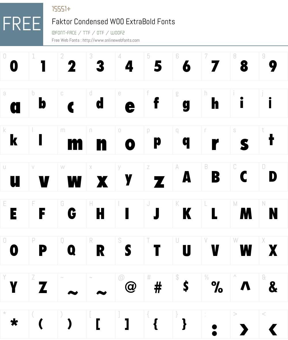 FaktorCondensedW00-XBold Font Screenshots