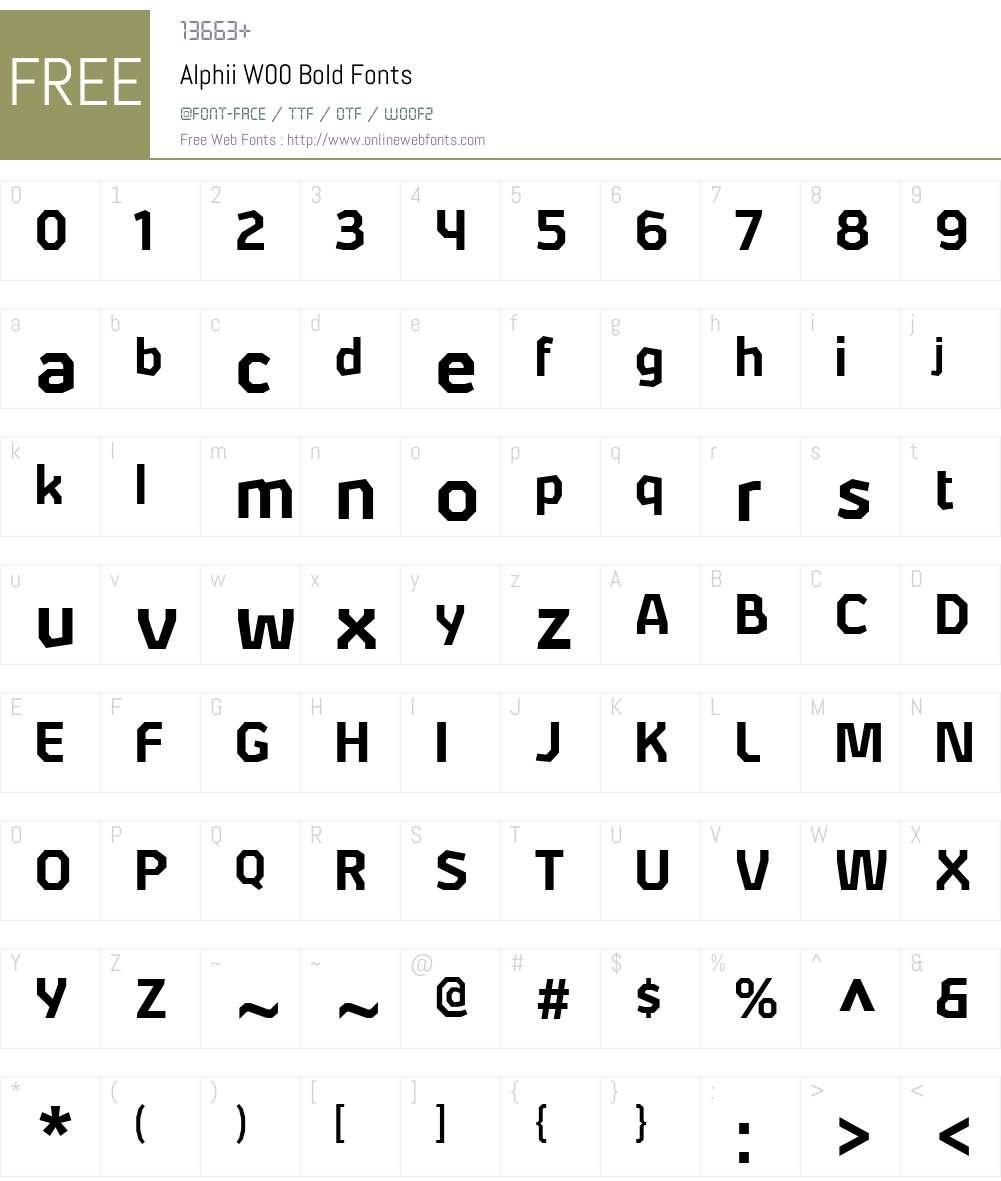 AlphiiW00-Bold Font Screenshots
