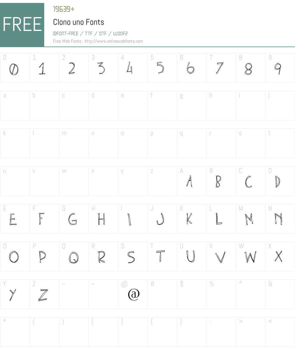 Clono uno Font Screenshots