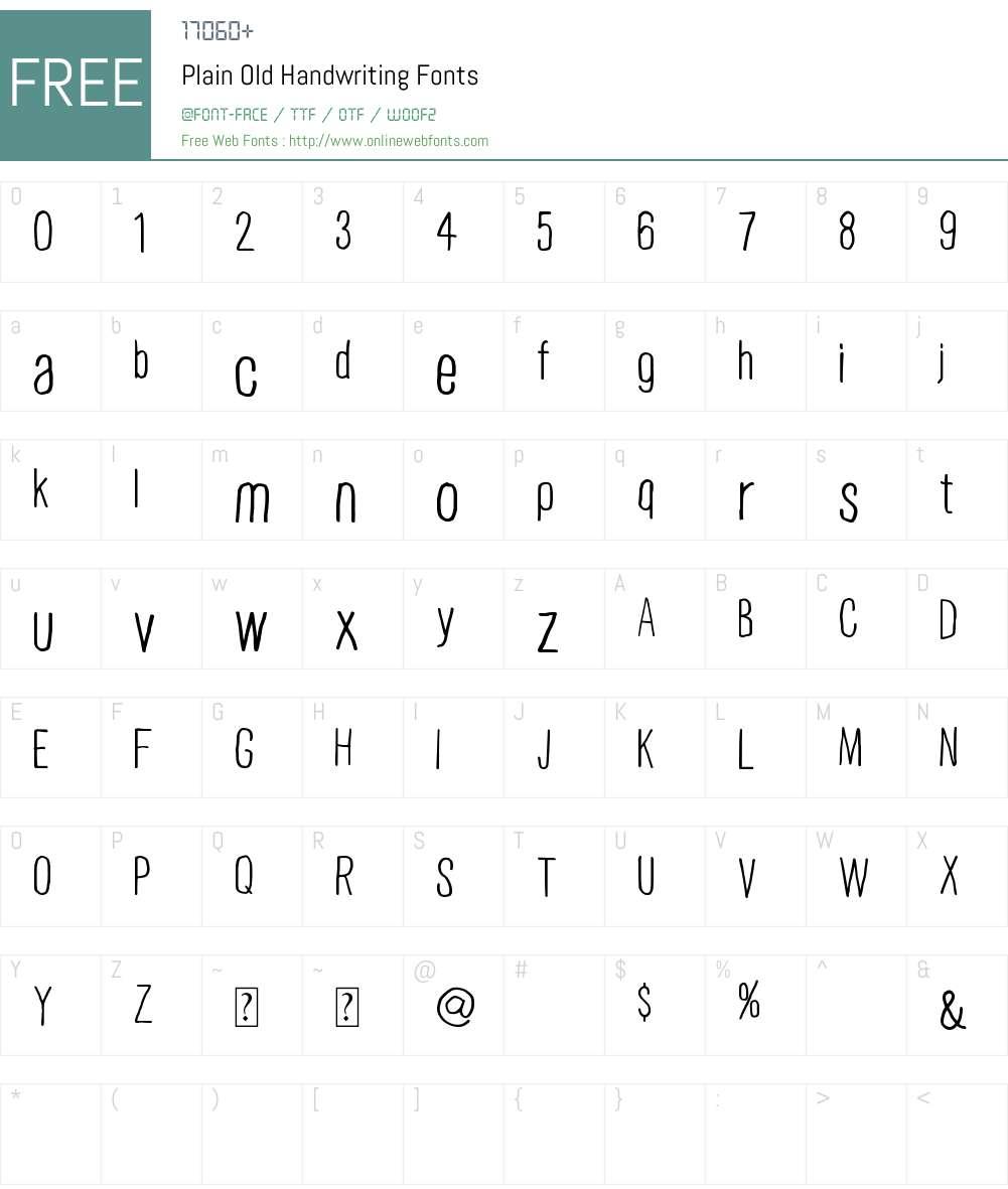 Plain Old Handwriting Font Screenshots
