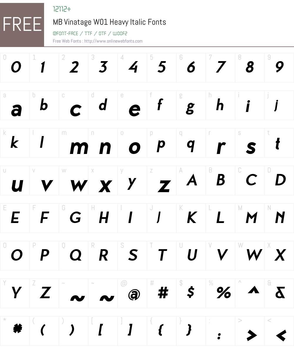 MBVinatageW01-HeavyItalic Font Screenshots