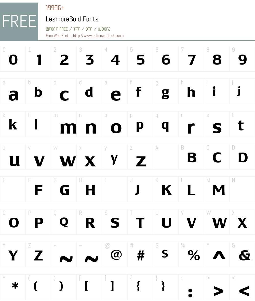 LesmoreBold Font Screenshots