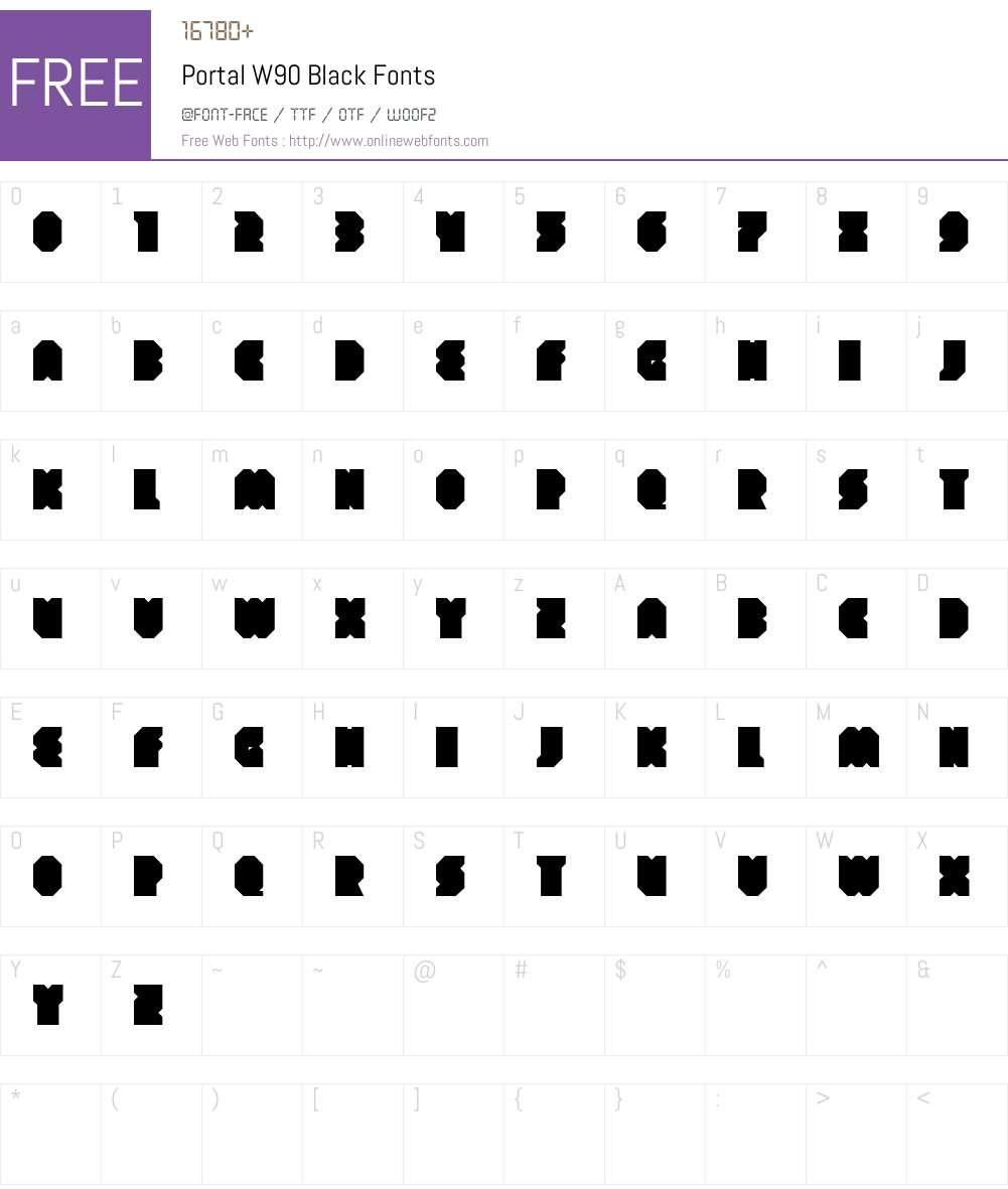 PortalW90-Black Font Screenshots