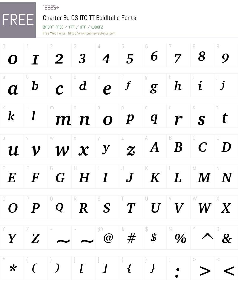 Charter Bd OS ITC TT Font Screenshots