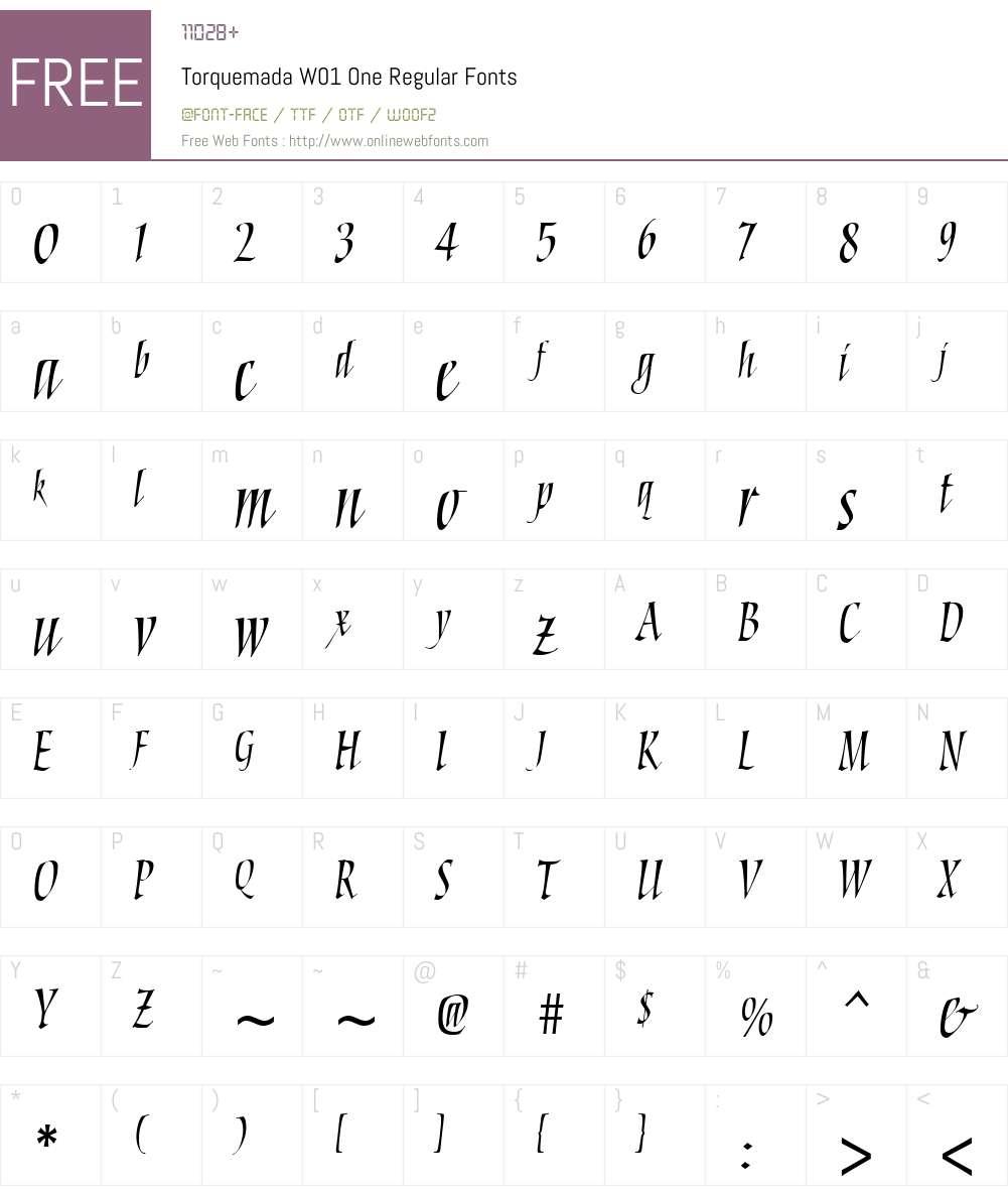 TorquemadaW01-OneRegular Font Screenshots