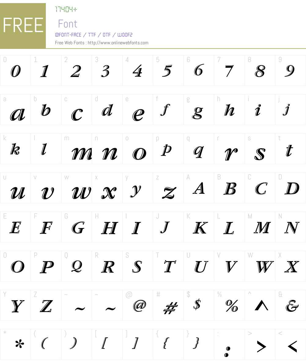 Garamond Handtooled ITC Std Font Screenshots