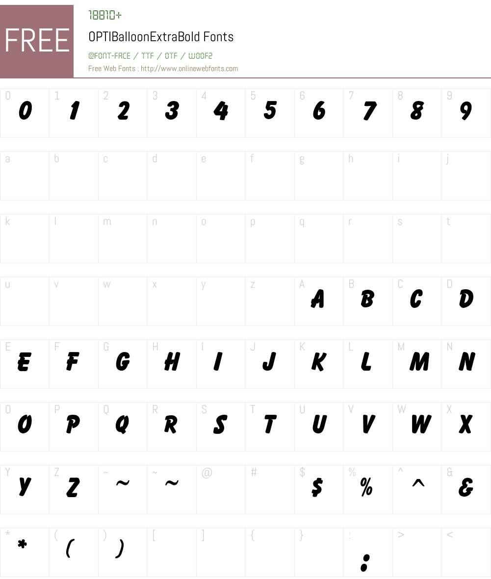 OPTIBalloonExtraBold Font Screenshots