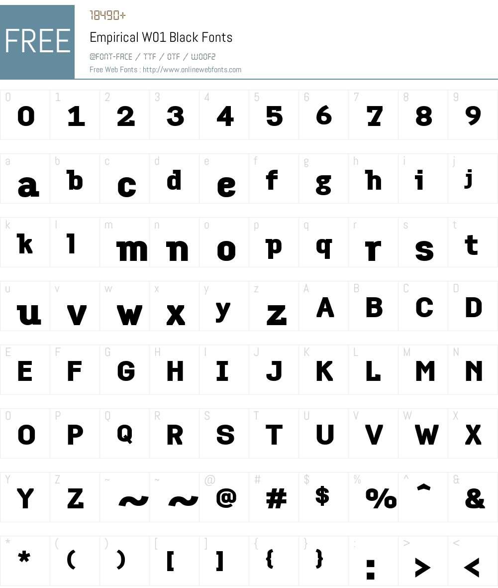 EmpiricalW01-Black Font Screenshots
