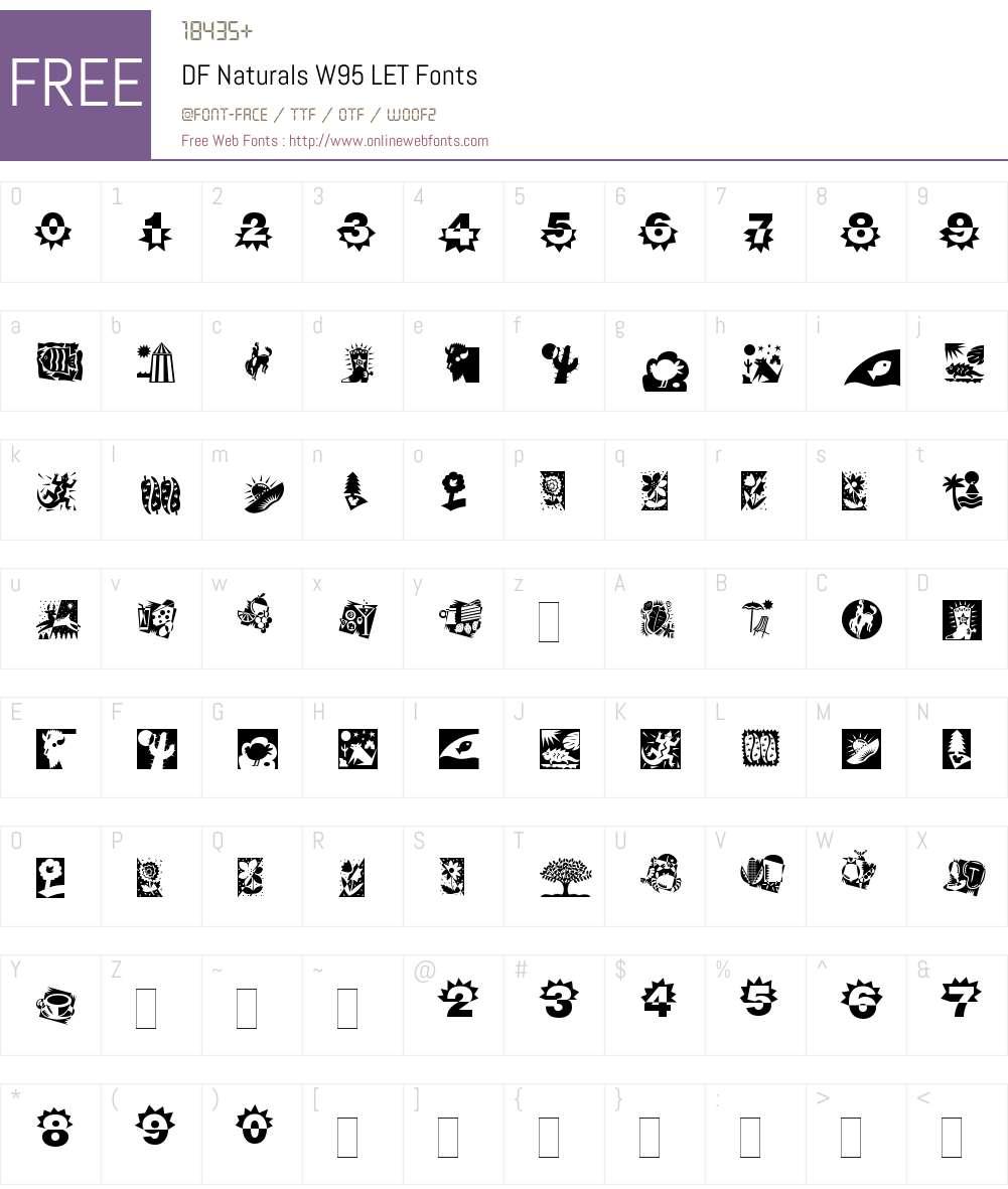 DFNaturalsW95-LET Font Screenshots