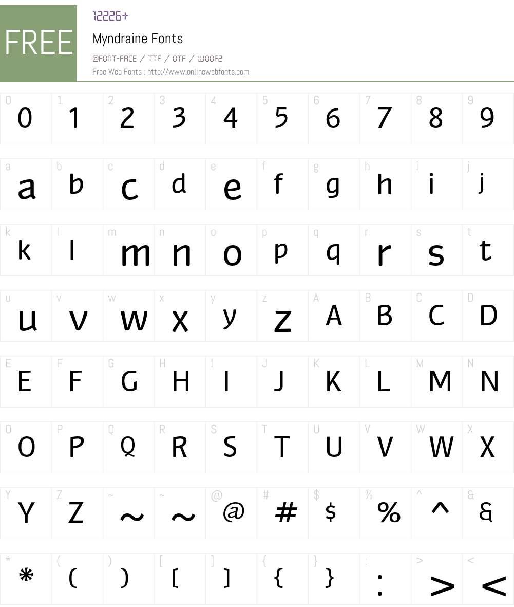 Myndraine Font Screenshots