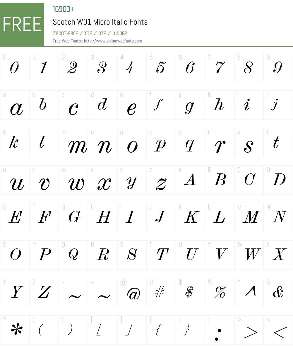 ScotchW01-MicroItalic Font Screenshots