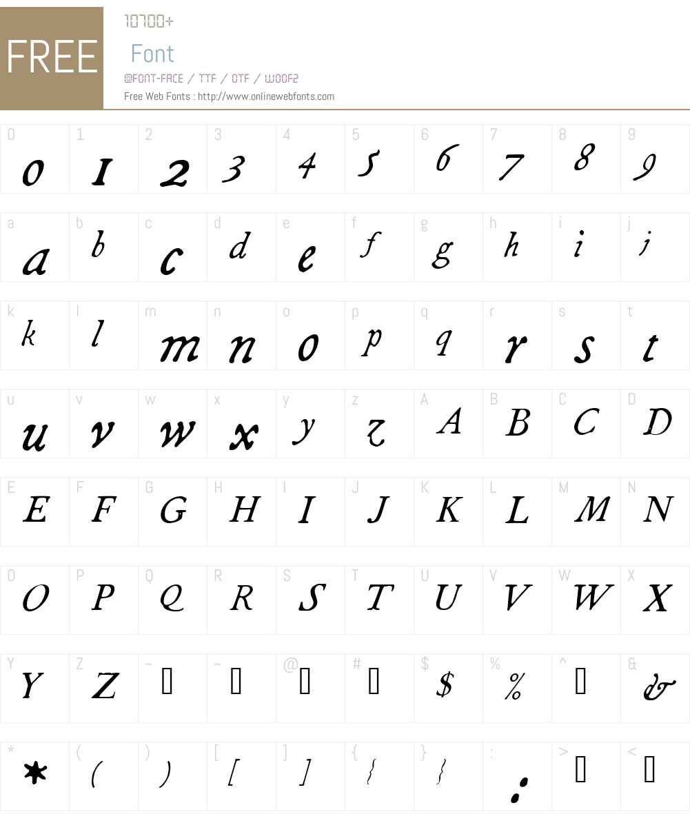 1790 Royal Printing Font Screenshots