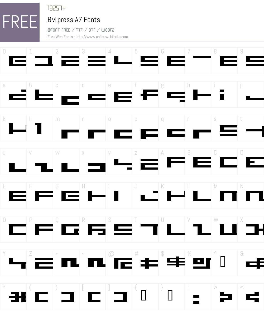 BM press Font Screenshots