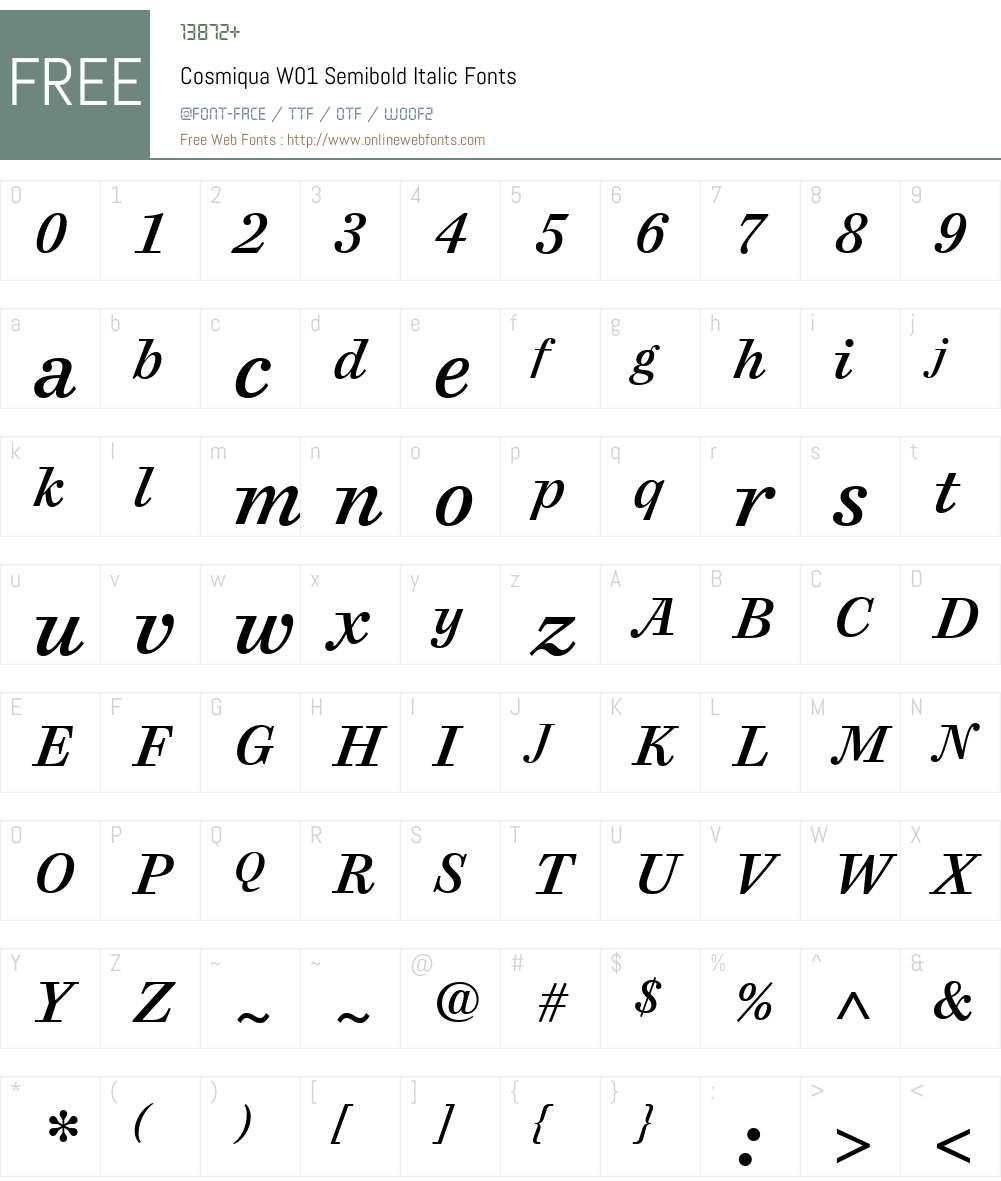CosmiquaW01-SemiboldItalic Font Screenshots
