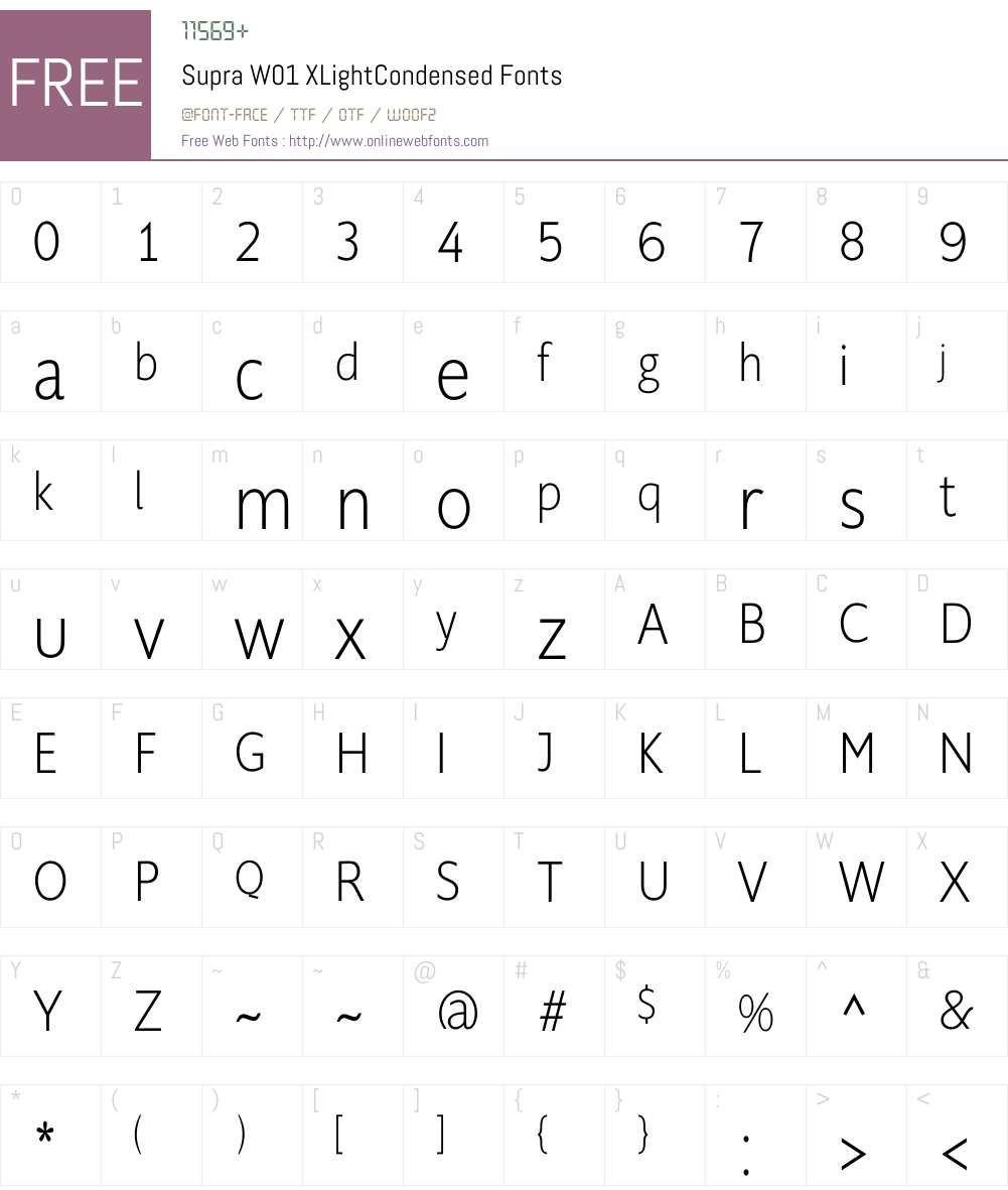 SupraW01-XLightCondensed Font Screenshots