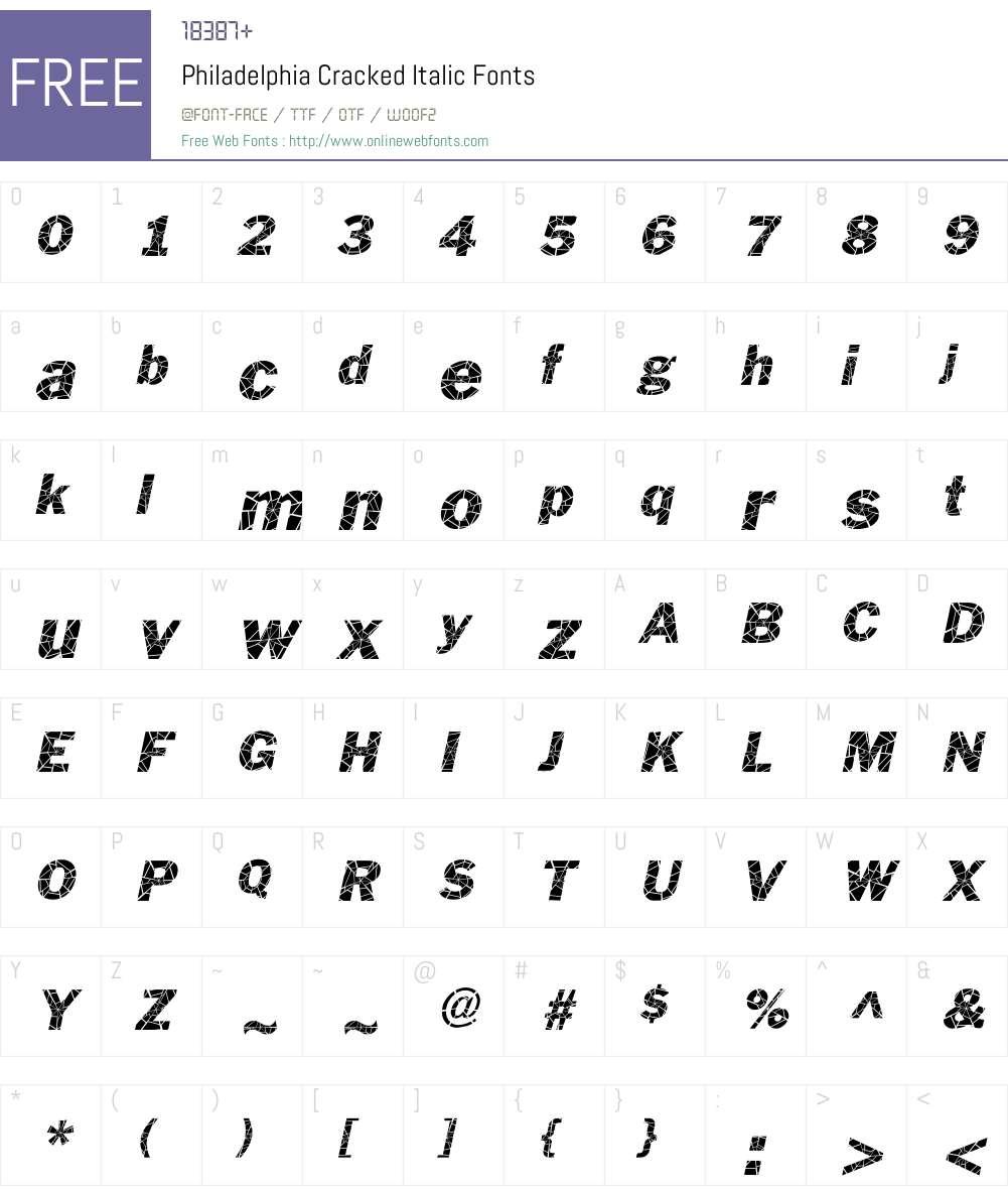 Philadelphia Cracked Font Screenshots