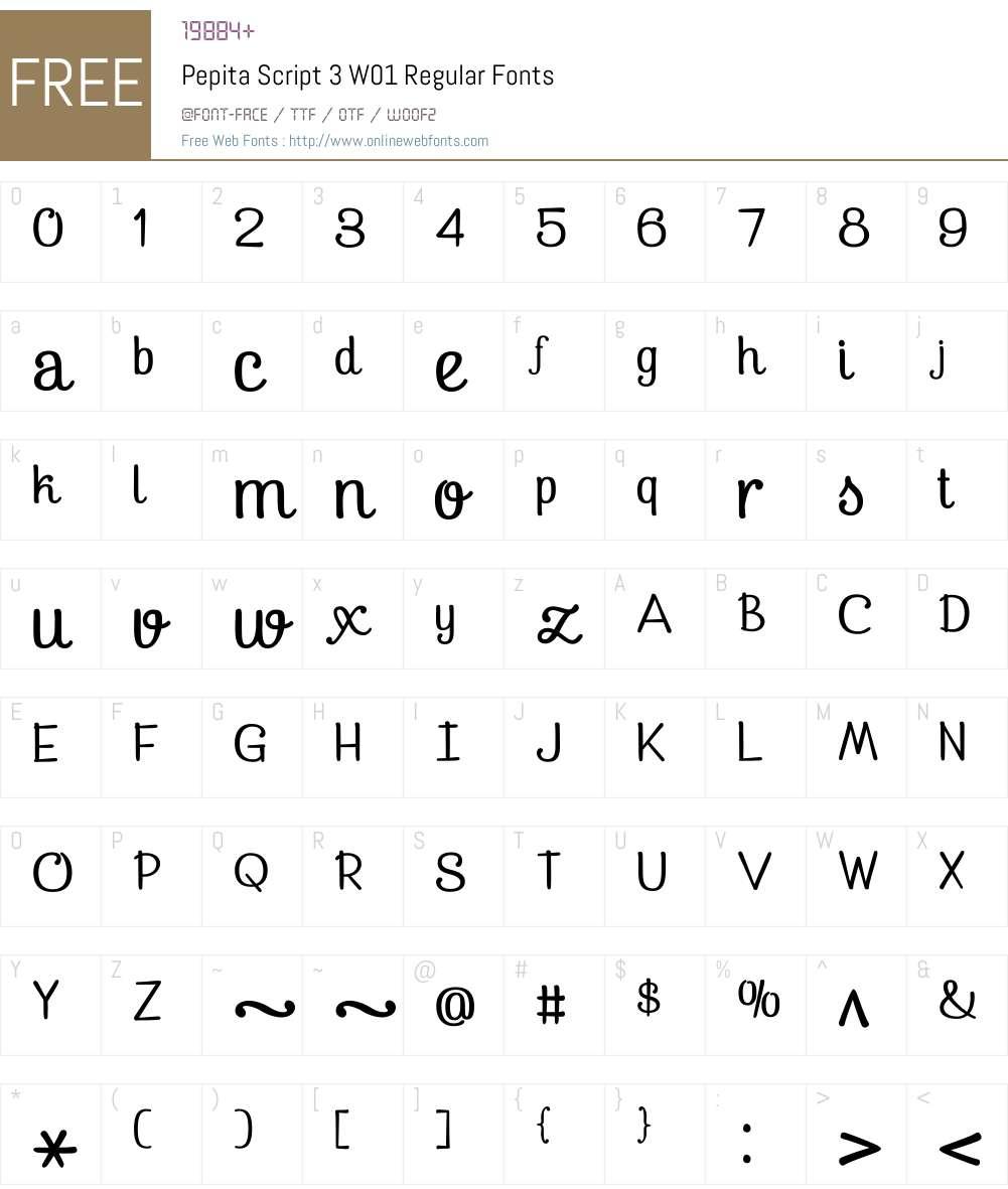 PepitaScript3W01-Regular Font Screenshots