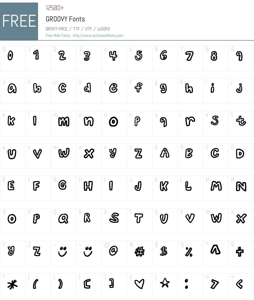 GROOVY Font Screenshots