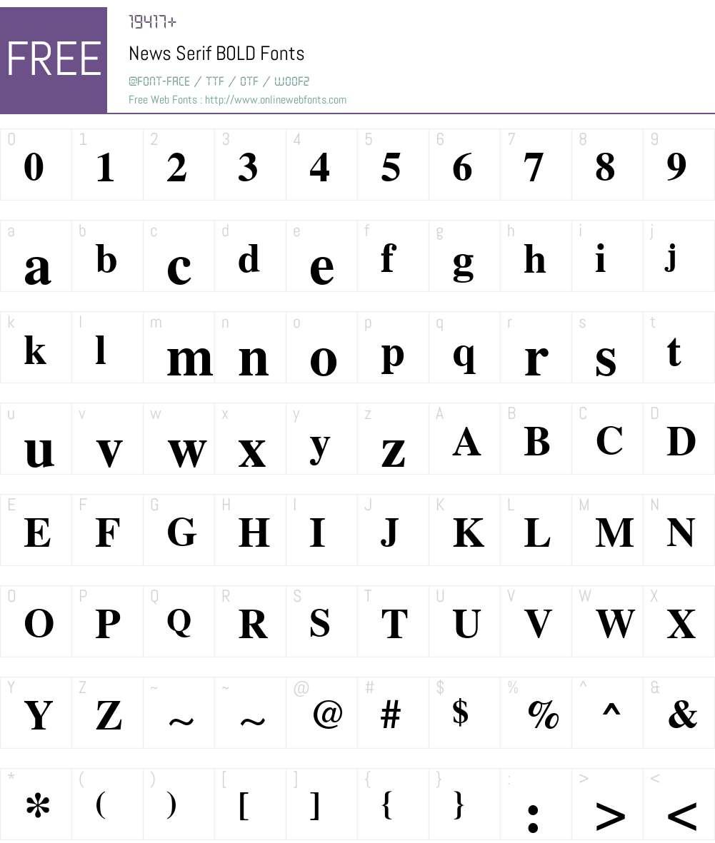 News Serif Font Screenshots