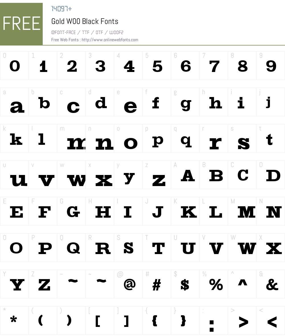 GoldW00-Black Font Screenshots