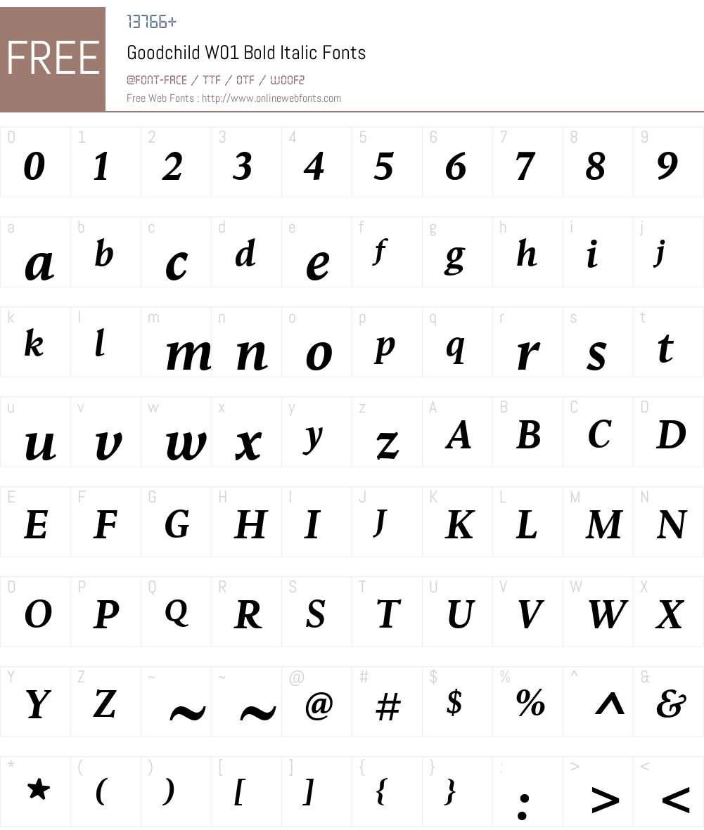 GoodchildW01-BoldItalic Font Screenshots