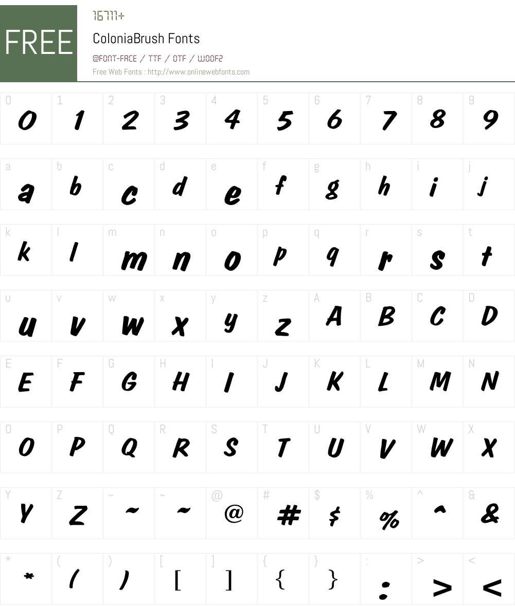 ColoniaBrush Font Screenshots