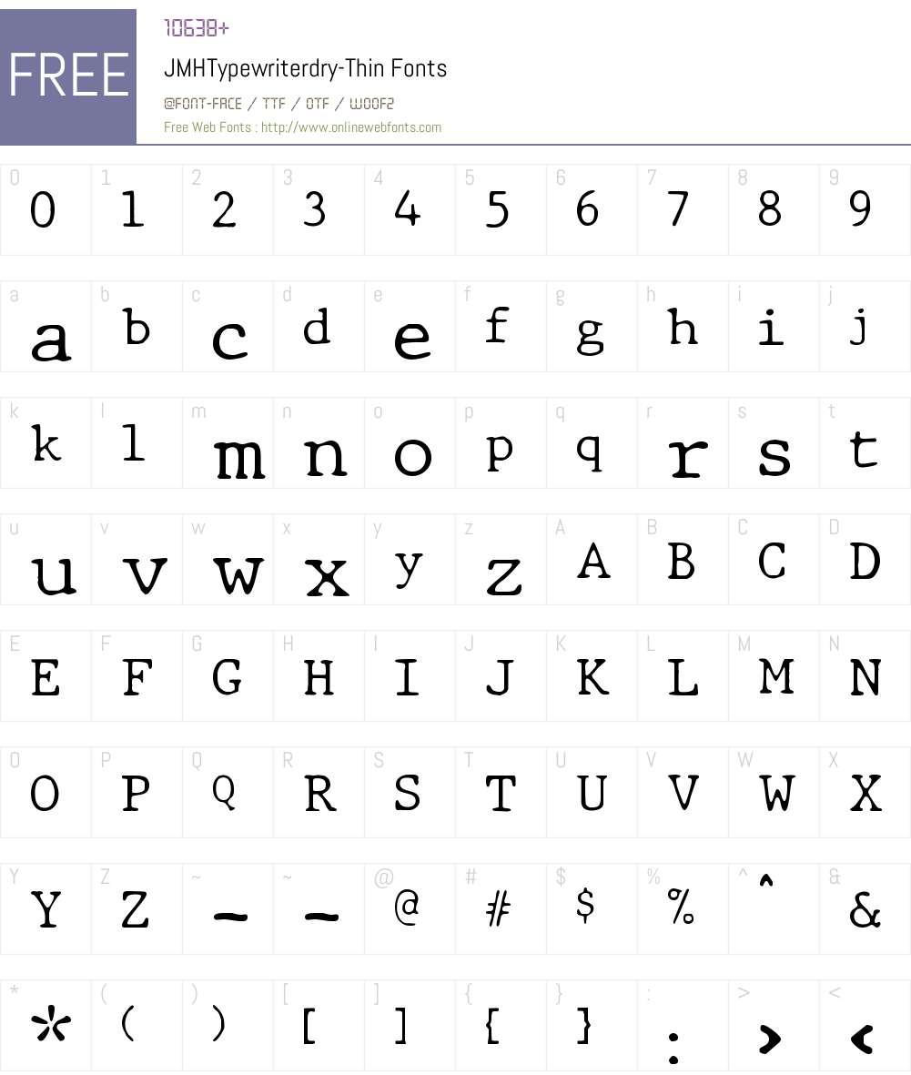 JMH Typewriter dry Thin Font Screenshots