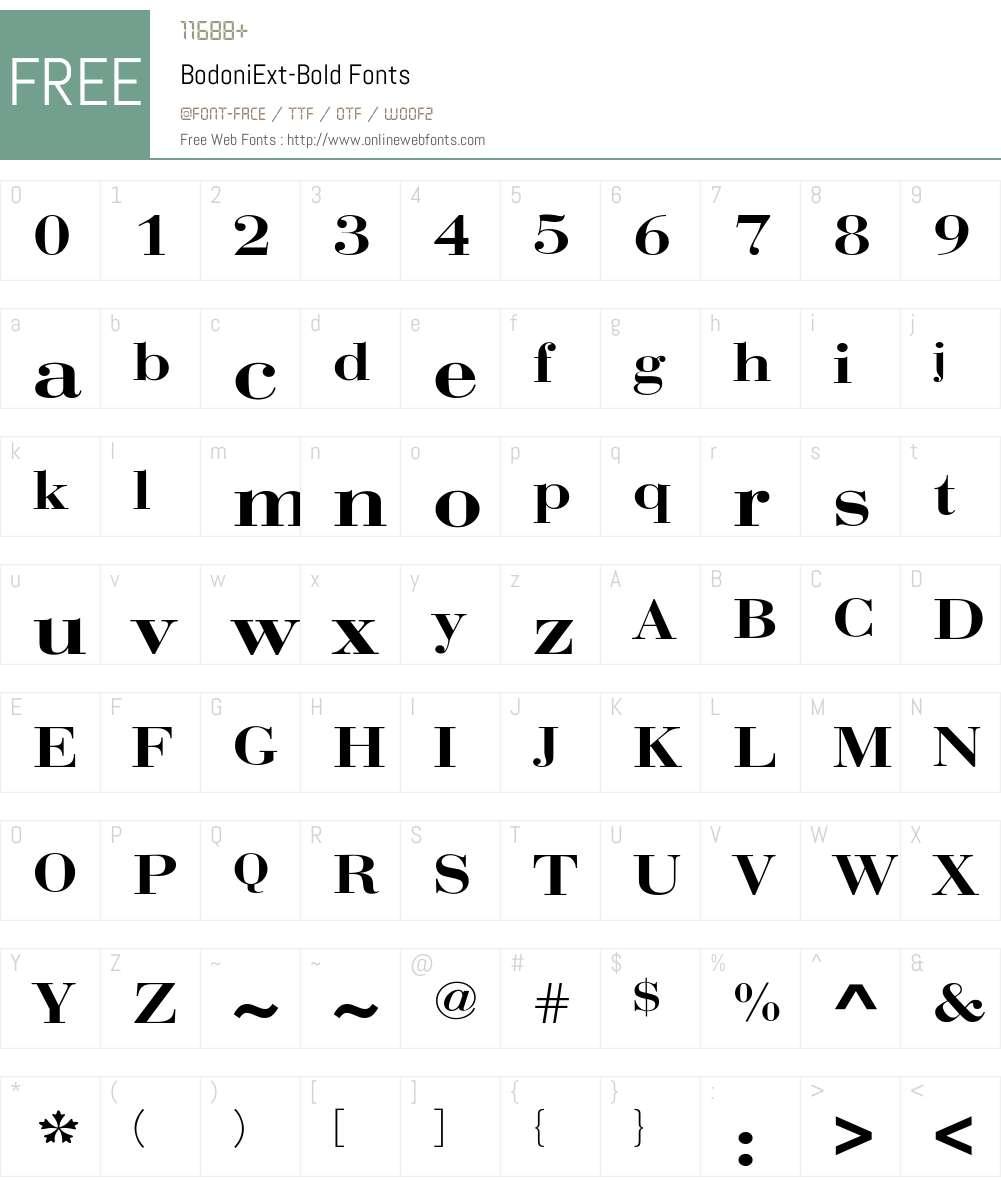 BodoniExt-Bold Font Screenshots