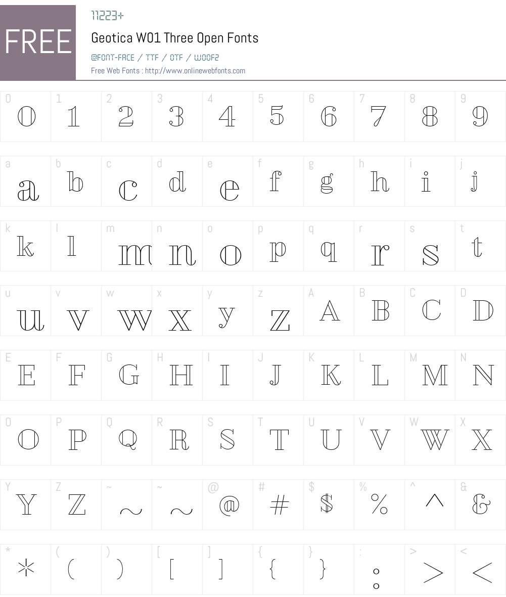 GeoticaW01-ThreeOpen Font Screenshots