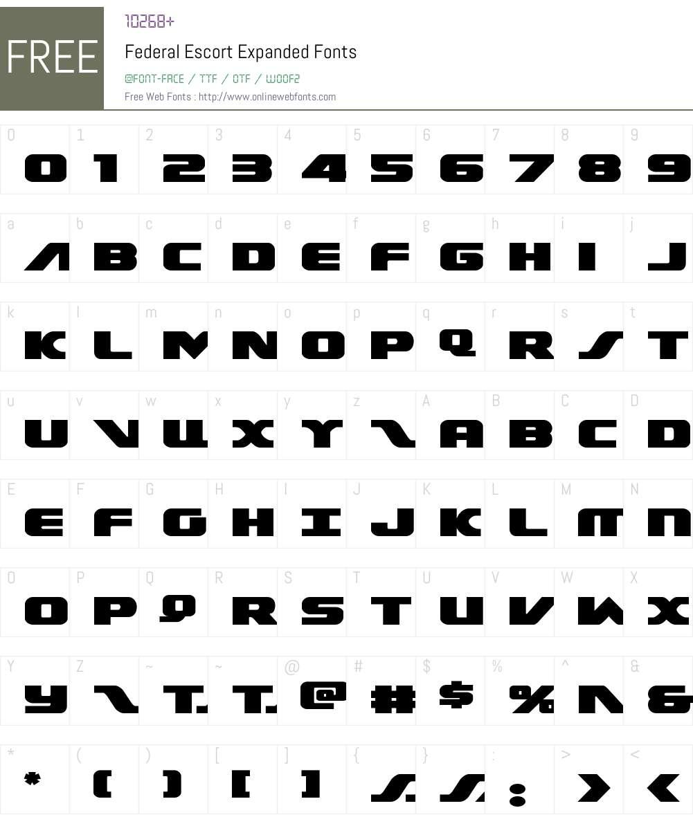 Federal Escort Expanded Font Screenshots
