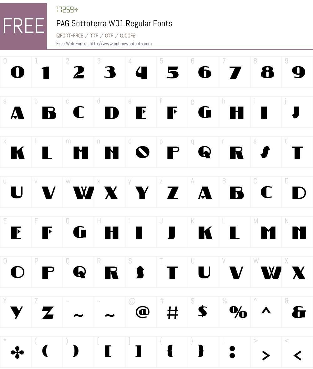 PAGSottoterraW01-Regular Font Screenshots
