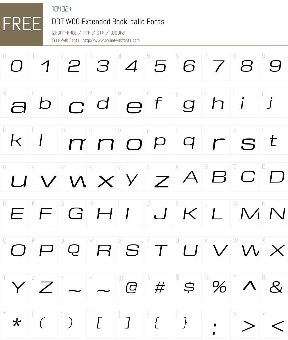 DDTW00-ExtendedBookItalic Font Screenshots
