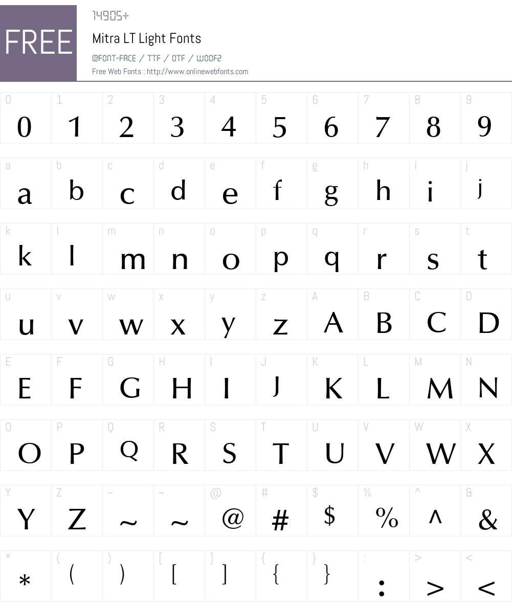 Mitra LT Font Screenshots