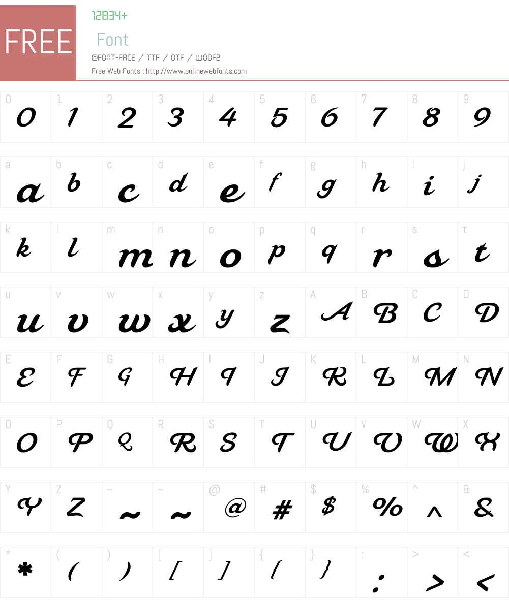 MahaliaW00-Regular Font Screenshots