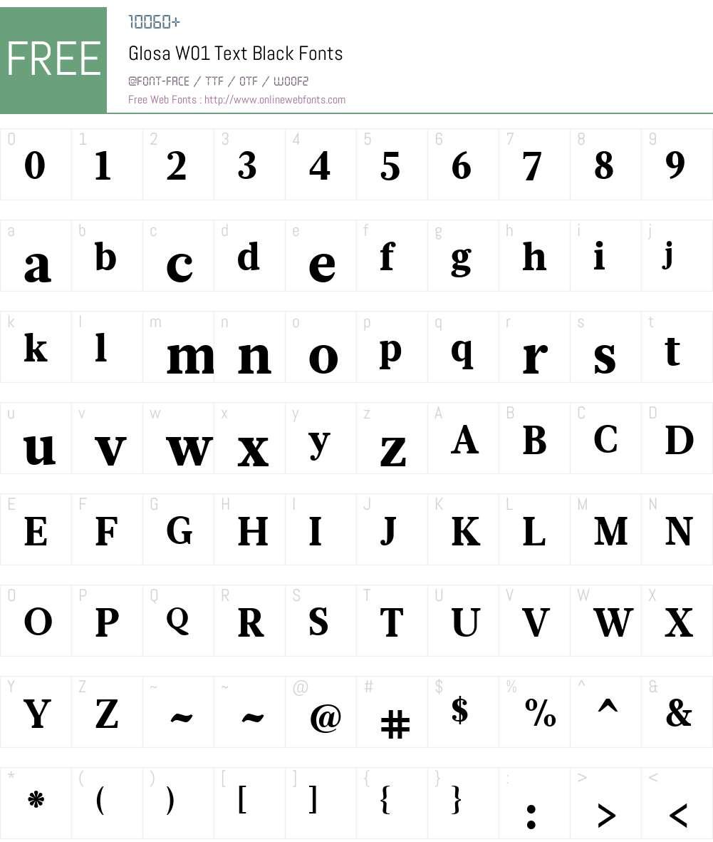 GlosaW01-TextBlack Font Screenshots