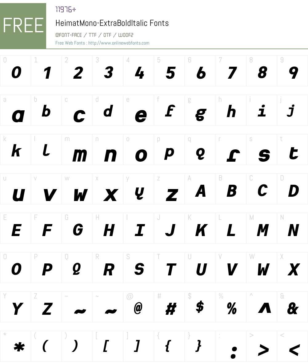 Heimat Mono ExtraBold Font Screenshots
