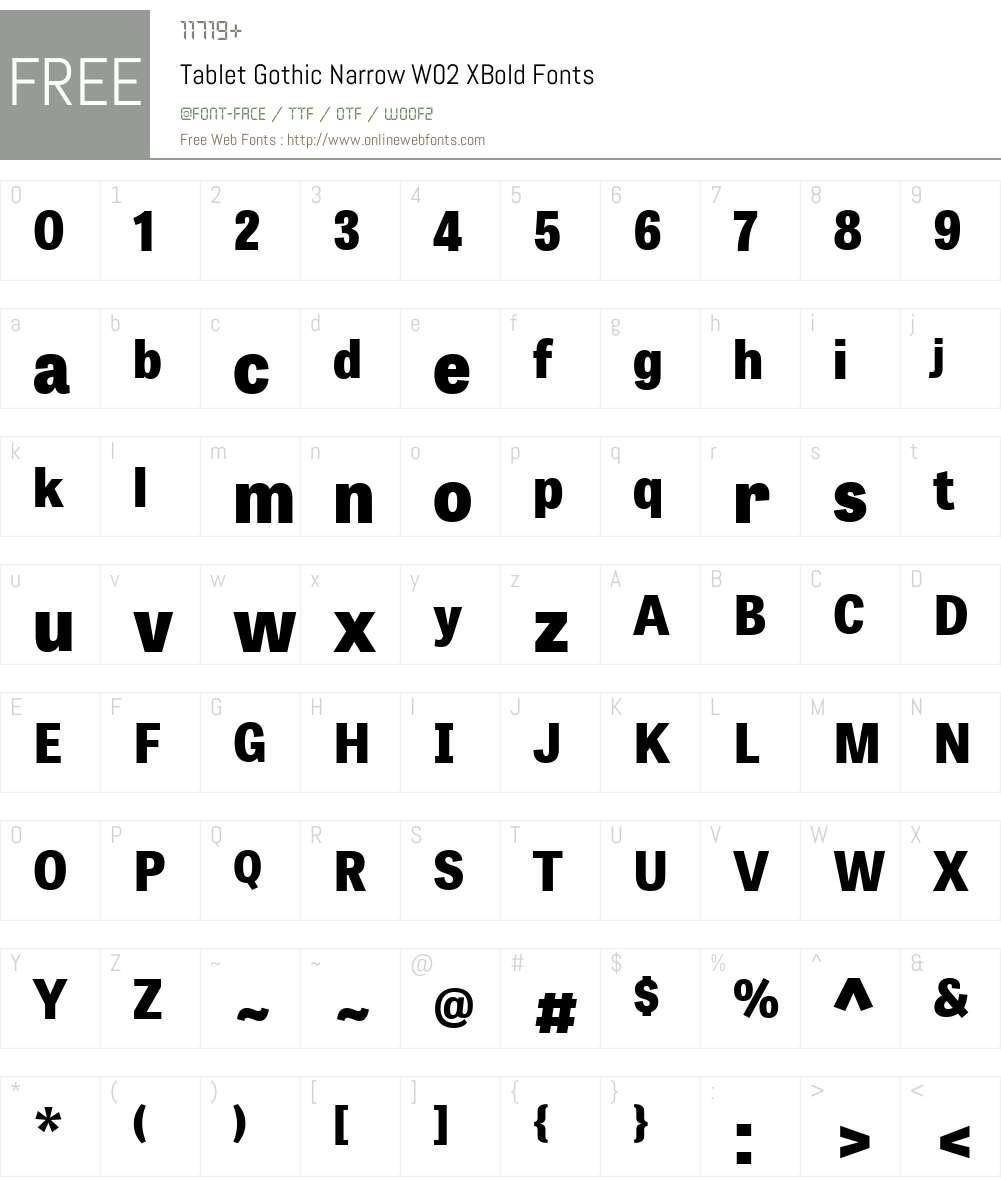 Tablet Gothic Font Screenshots
