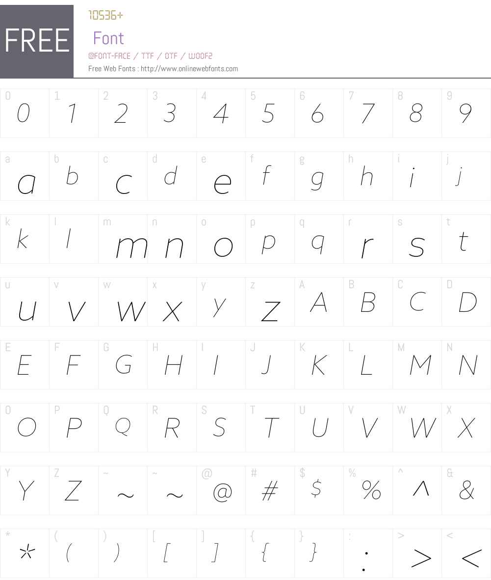 AzoSansW01-ThinItalic Font Screenshots