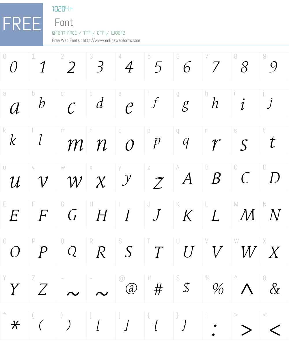LinotypeSyntaxSerifW01-LtIt Font Screenshots