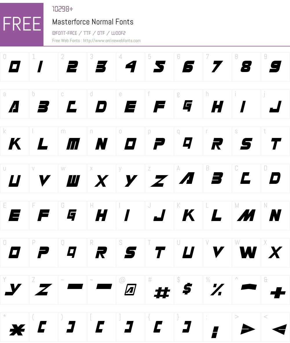 Masterforce Font Screenshots