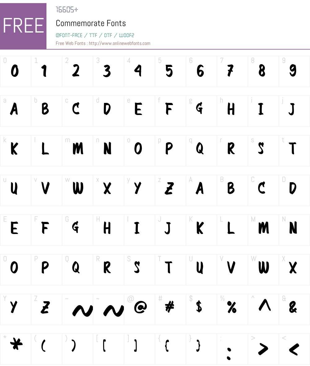 Commemorate Font Screenshots