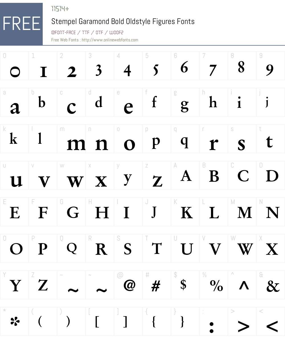 Stempel Garamond Font Screenshots