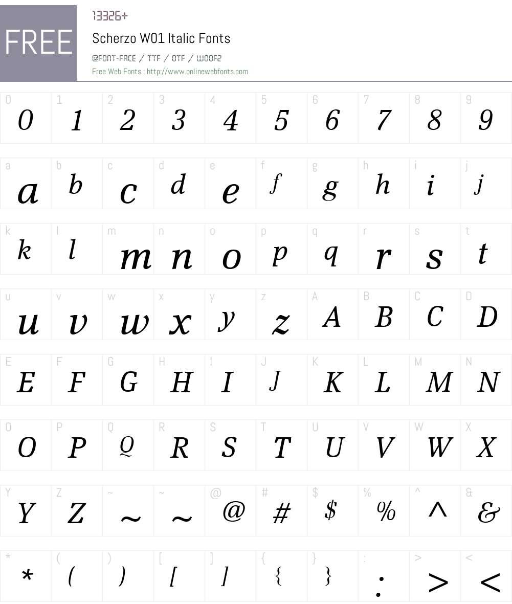 ScherzoW01-Italic Font Screenshots