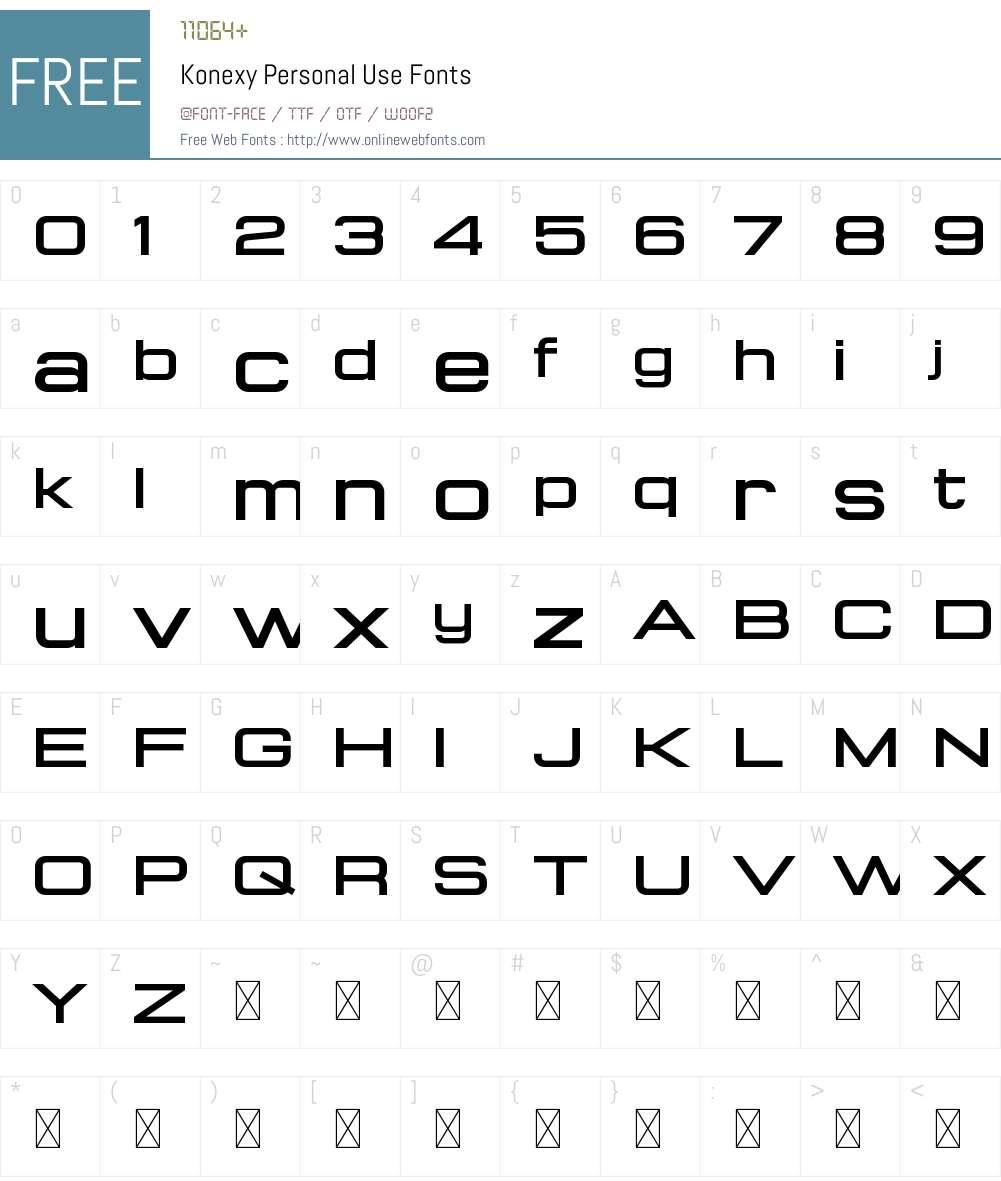 Konexy Personal Use Font Screenshots