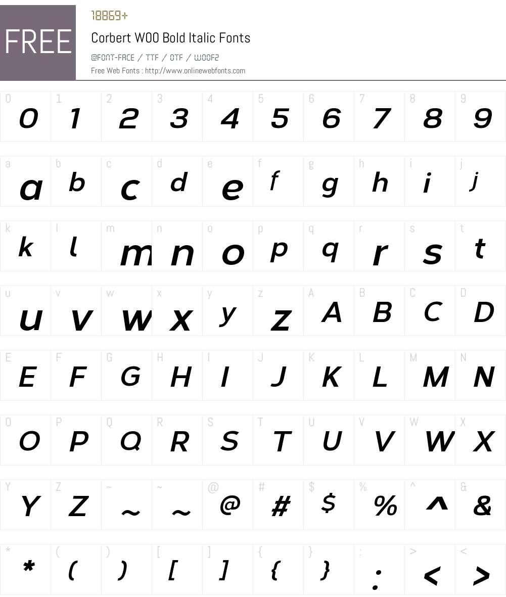 CorbertW00-BoldItalic Font Screenshots